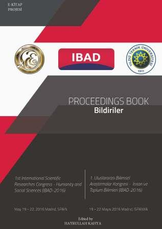 """PROCEEDINGS BOOK""/Bildiriler (1st International Scientific Researches Congress-Humanity an Social Sciences IBAD-2016)"